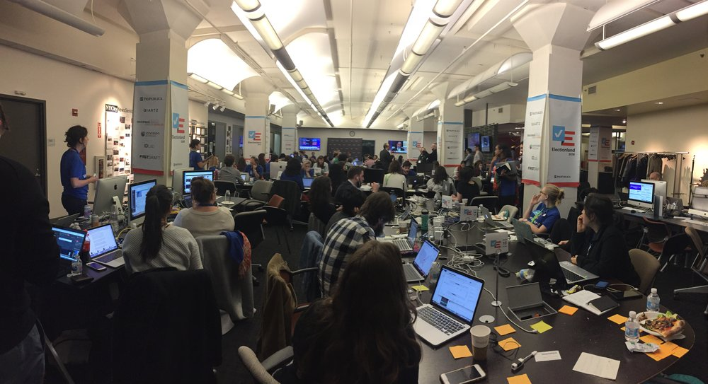 A picture of the 2018    Electionland    newsroom. Photo credit: Aashka Dave