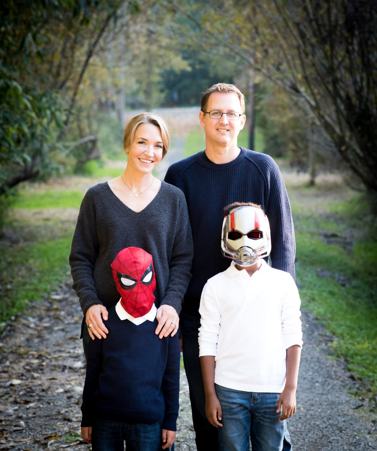 Here's the whole family! (My kid's favorite superhero masks were used to conceal their identities.)