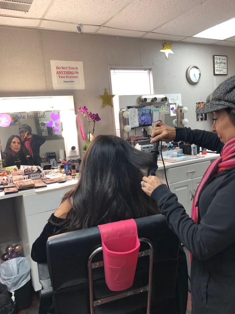 Cofounder Sharon Feldstein in hair and makeup