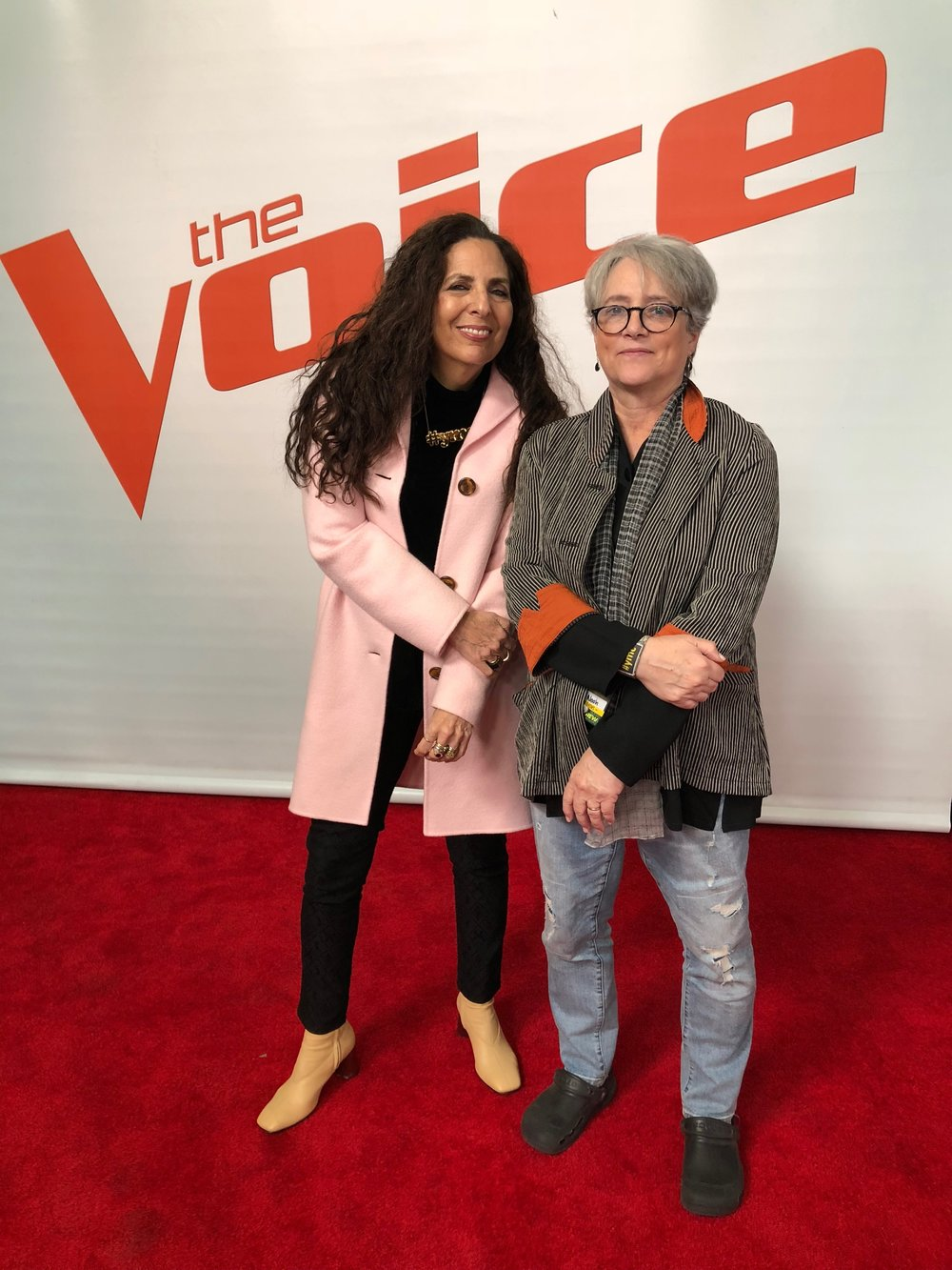 Cofounders Sharon Feldstein and Patsy Noah on set at The Voice