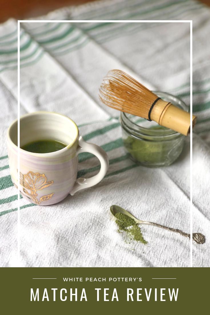 White peach Pottery's review of DavidsTea's Vanilla Matcha Tea.