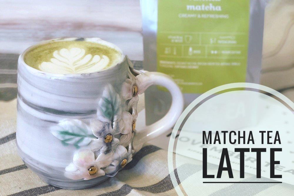 Vanilla Matcha tea Latte from White Peach Pottery