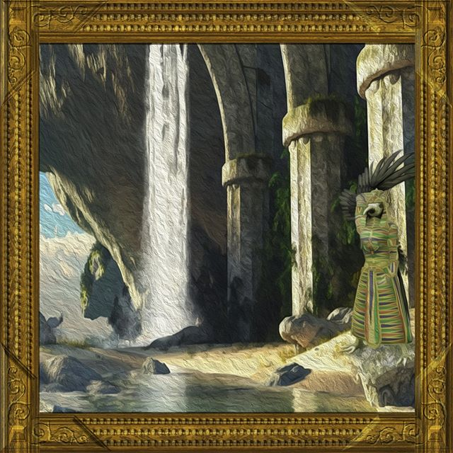 A painting unearthed from a mysterious abandoned mansion, from its peculiar owner's private gallery collection appears to portray the Bakmaster amongst strange and beautiful ruins.