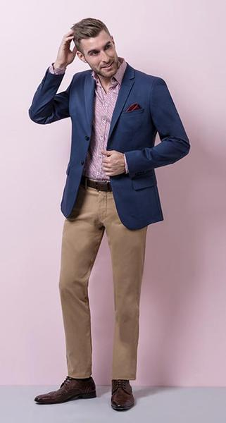Casual Your Way - Royal blue cotton unlined blazer with printed red shirt and two ply red chinos will do daytime and any garden with ease.