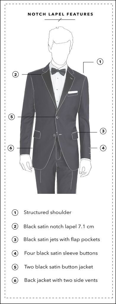 SOPHISTICATED NOTCH LAPEL - The notch lapel is a conventional jacket lapel, where the collar and lapel meet to form a