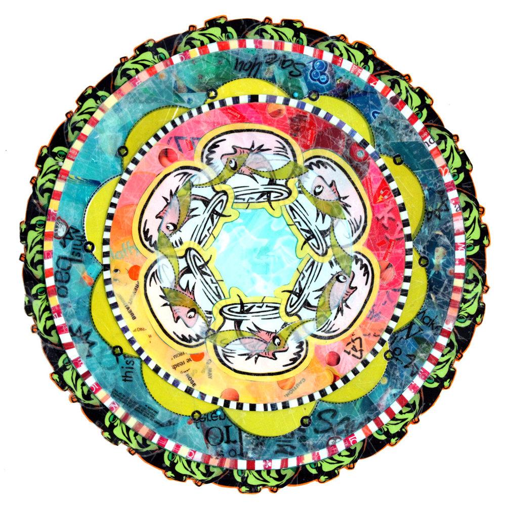 """Uh-Oh Fish Mandala (2012) - 16.5"""" dia."""