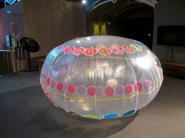 The inflated cushion at the beginning of the workshop: some circles had   been pre-taped by Virginia to model what was expected, and to get  things  started.