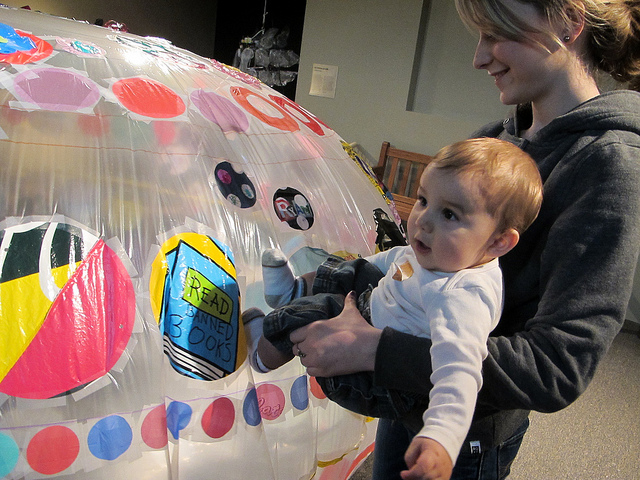 It was pretty irresistible to poke, touch, and wobble the inflated   cushion. Even really little visitors were able to enjoy this piece!