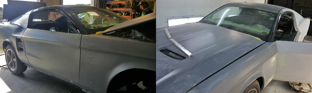 Our RETROBUILT panels are installed, giving the car a more classic look.