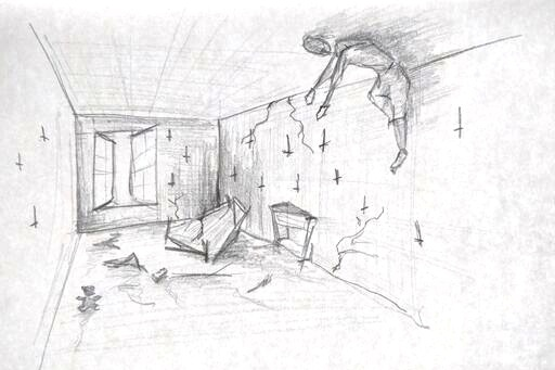 A quick sketch to illustrate the audience view of set and performer.