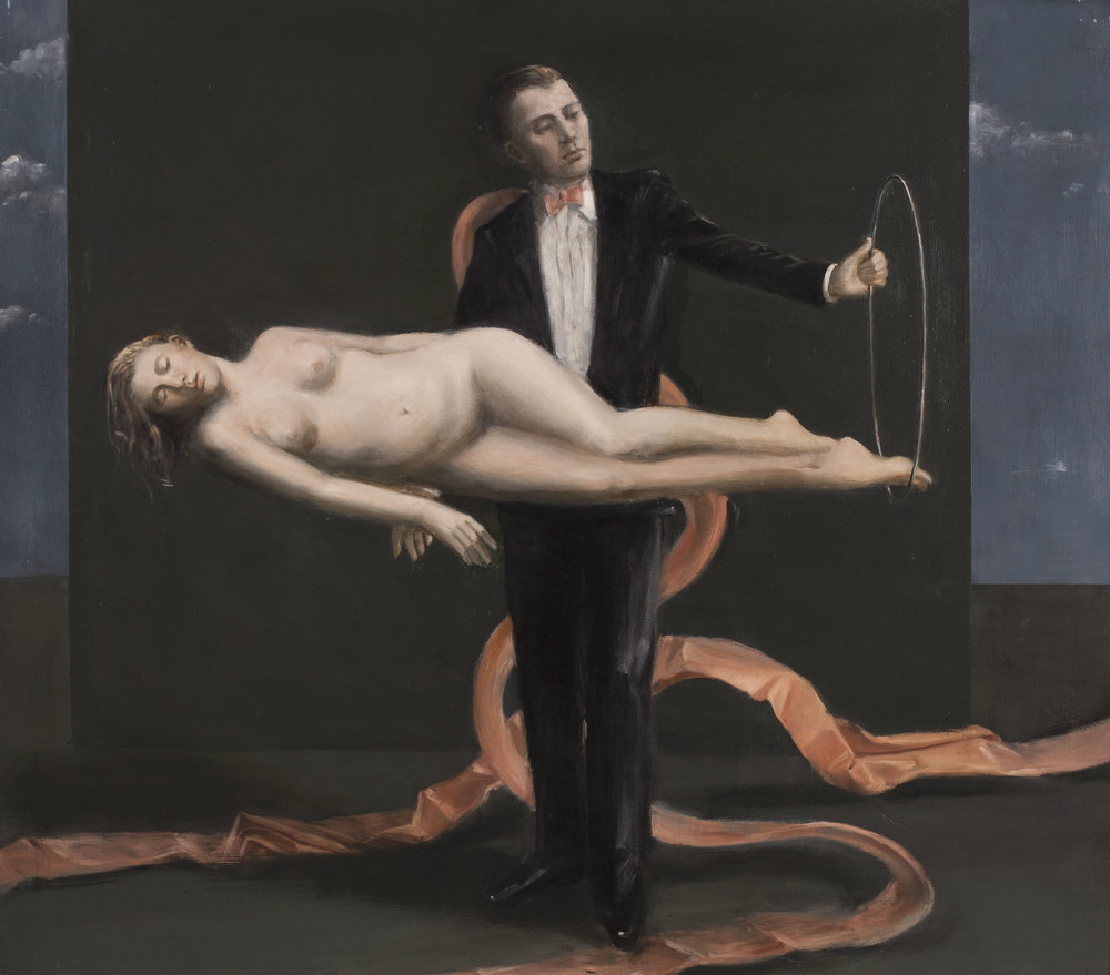 Raymond Han (1931-2017),  Untitled (The Magician) , circa 200, Oil on linen, 54 x 48 inches.