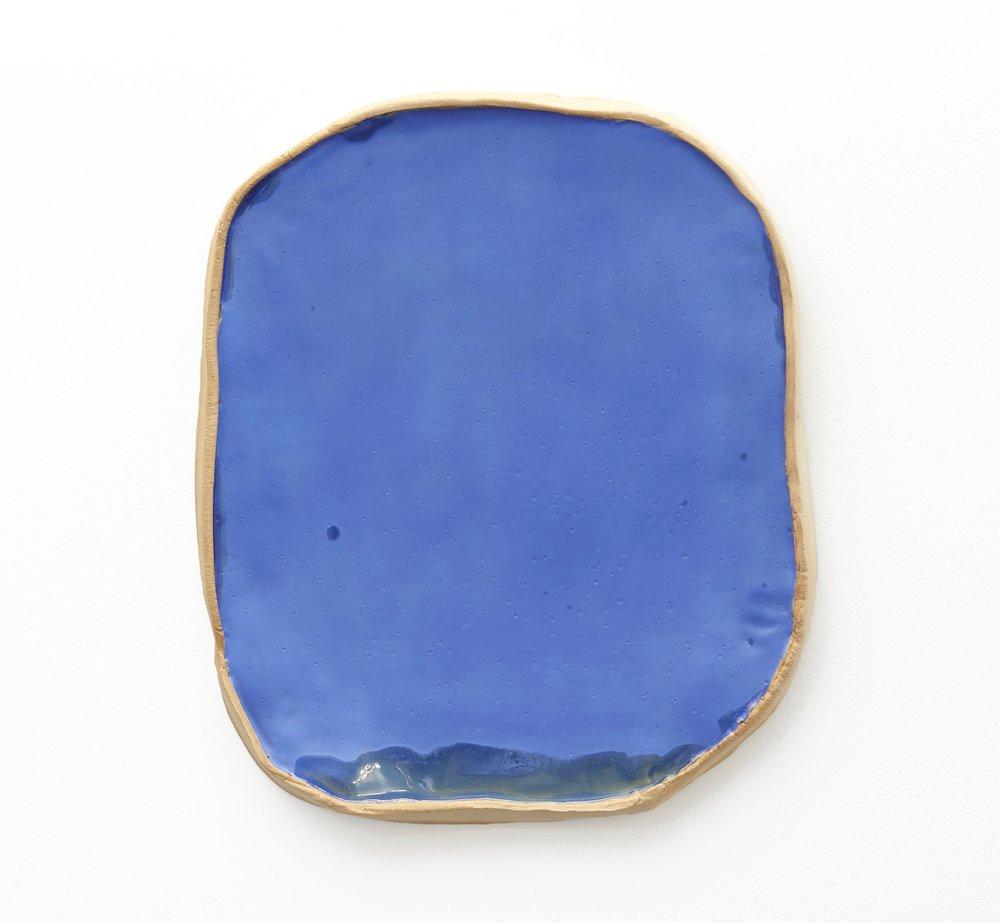 Keiko Narahashi,    Untitled (Blue Mirror) , 2018, Glazed stoneware, 16 x 13 3/4 x 1 1/2 inches