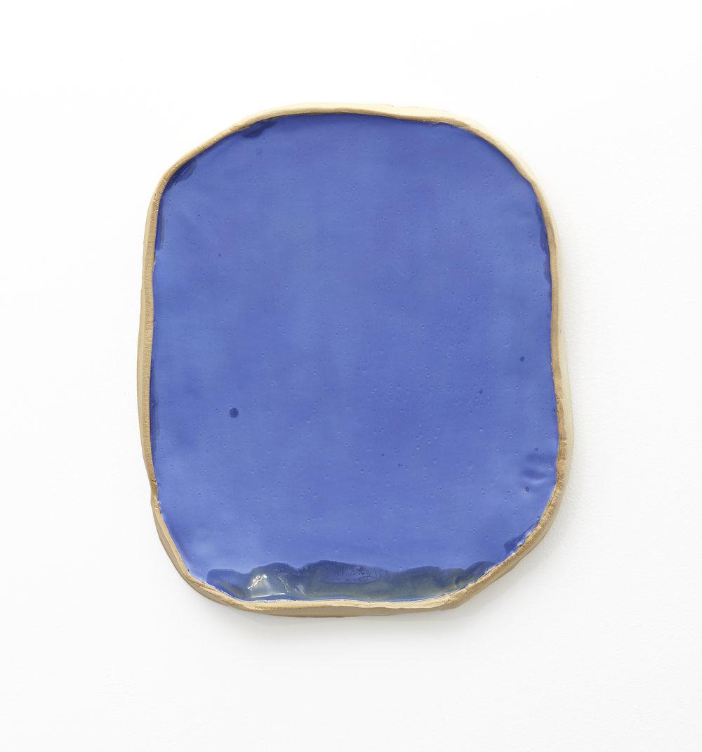 Keiko Narahashi   Untitled (Blue Mirror) , 2018 Glazed stoneware 16 x 13 3/4 x 1 1/2 inches 40.6 x 34.9 x 3.8 cm