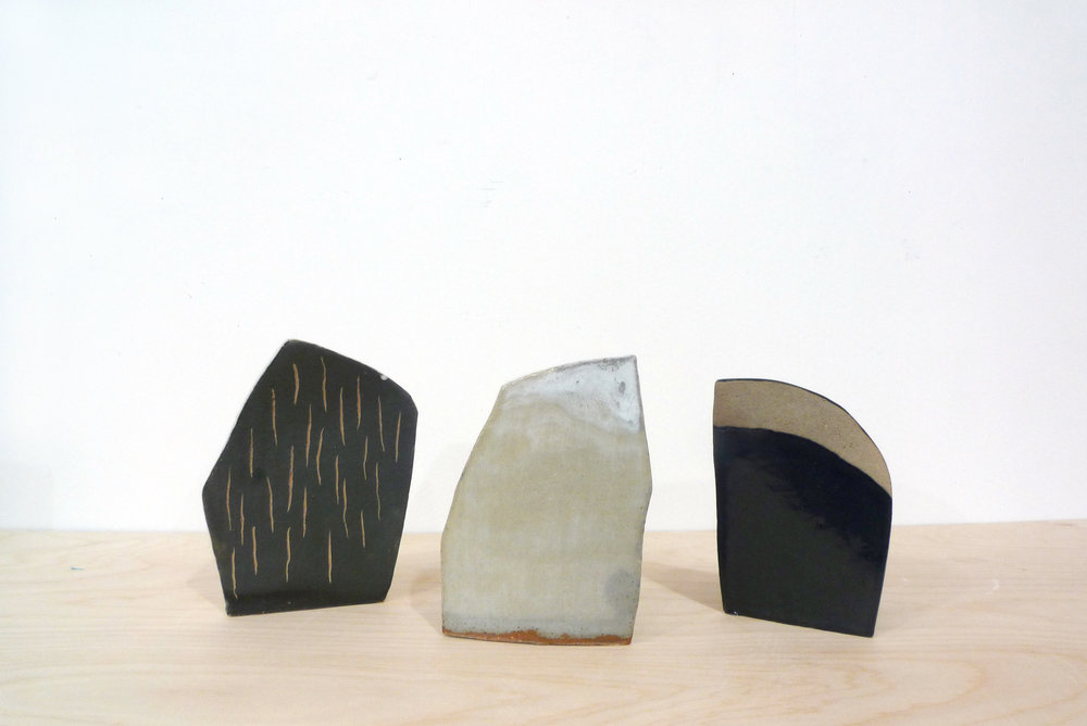 Keiko Narahashi   Left: Untitled (Small Black Sgraffitto), 2017 Middle: Untitled (Small White/Clear), 2015 Right: Untitled (Small Black T1 Arc), 2017  Glazed stoneware Left: 7 1/4 x 5 1/2 x 3 1/2 inches Middle: 6 1/2 x 5 x 3 inches Right: 6 x 4 1/4 x 3 inches