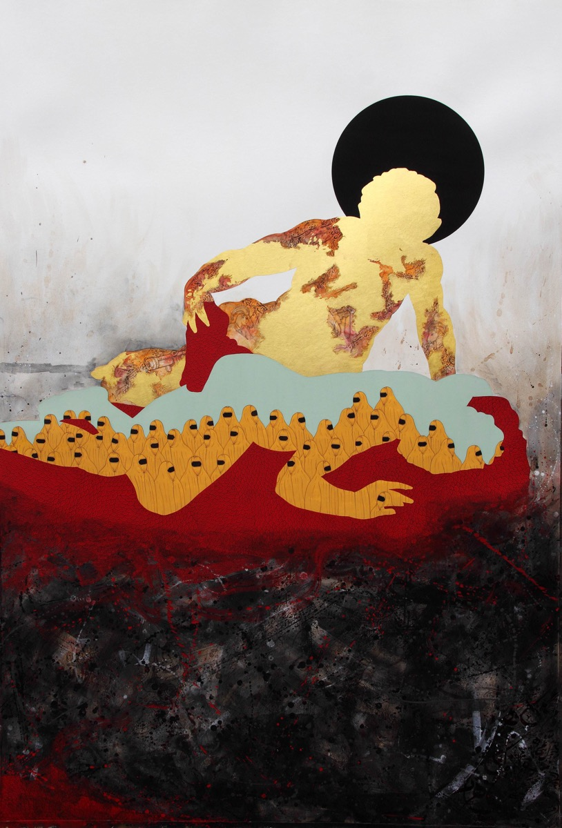 Waseem Ahmed (b. 1976)   Untitled , 2017 Pigment color and gold leaf on archival Vasli paper 58 x 39 2/5 inches.