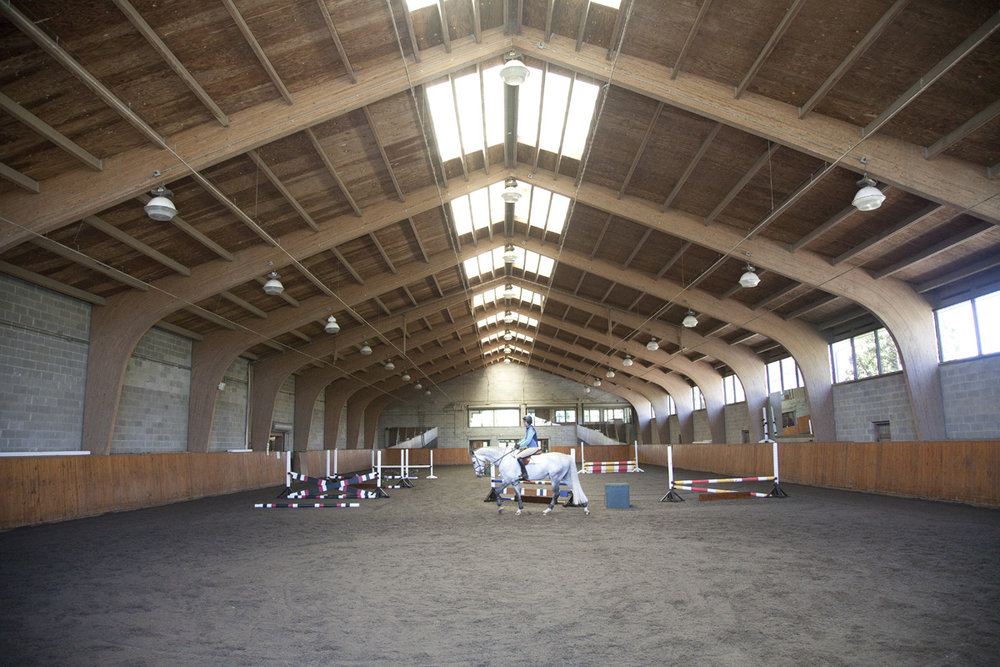 The Facilities - Wölffer Estate Stables sits on more than 100 lush acres and employs an experienced staff with a passion for excellence. The farm offers direct access to miles of natural trails, and our top-notch facilities include more than 80 stalls with 39 individual paddocks. The large indoor riding ring can accommodate up to 8 students and features an elevated viewing room. Outside, several well-equipped riding rings, including a totally resurfaced jumper ring and a Grand Prix field, feature rubber mulch-padded floors and a variety of natural and traditional jumps. A covered hot walker is available for exercising horses during inclement weather.