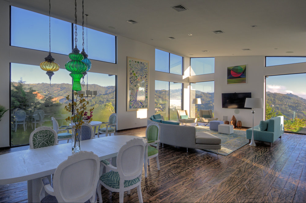 Living/dining area with mountain views.