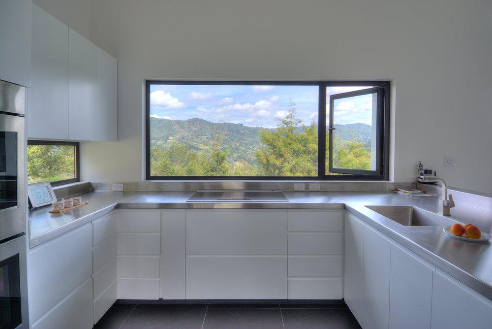 Kitchen with views onto the mountains.