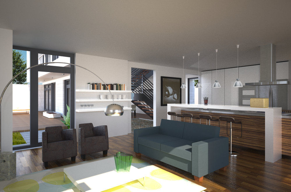 Open plan kitchen and living area
