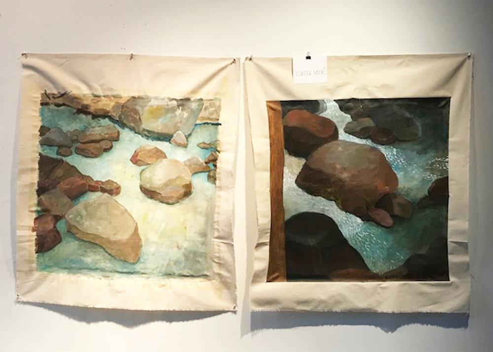 """Still Water"", 29"" x 29 1/2"", (left, in progress); ""Turtle Rock"", 29"" x 29 1/2"" (right, in progress); acrylic and graphite"