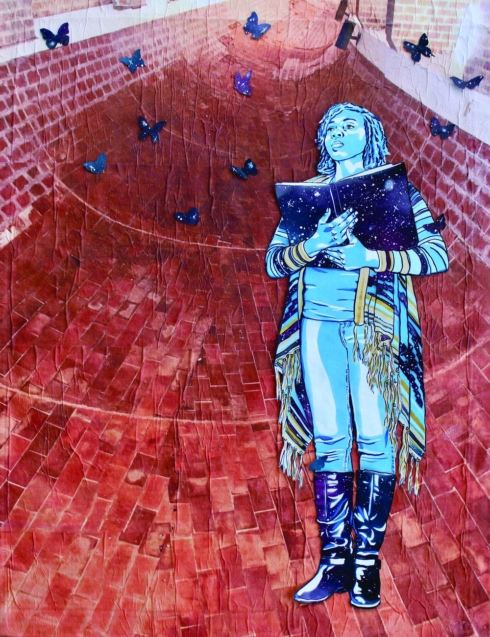 """Labyrinth of Imagination""', hand-cut stencil, spray paint, acrylic, photo (Cuba, National Art Schools), paper on canvas, 2019, 36"" x 30"""