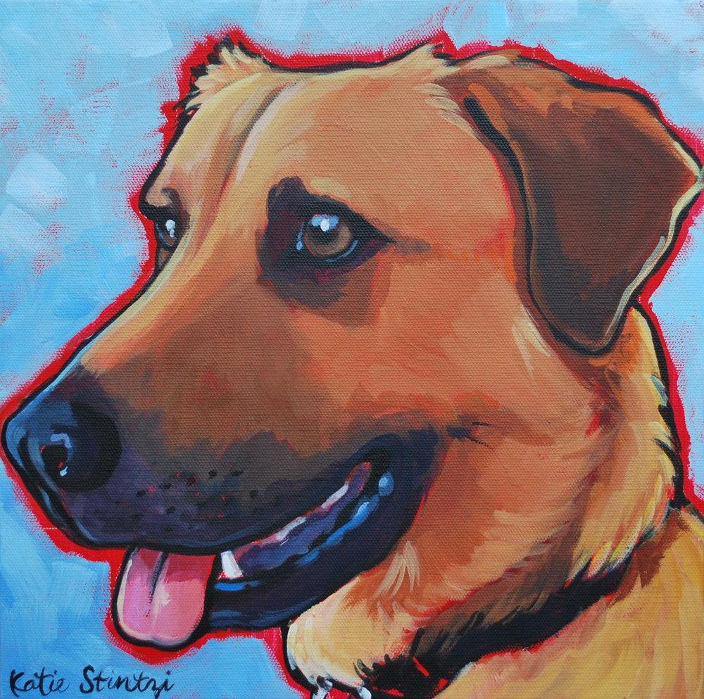 Lab German Shepherd Dog Portrait Painting.JPG