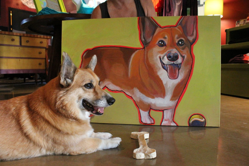 Corgis Pet portrait Painting Artist Katie Borud.JPG