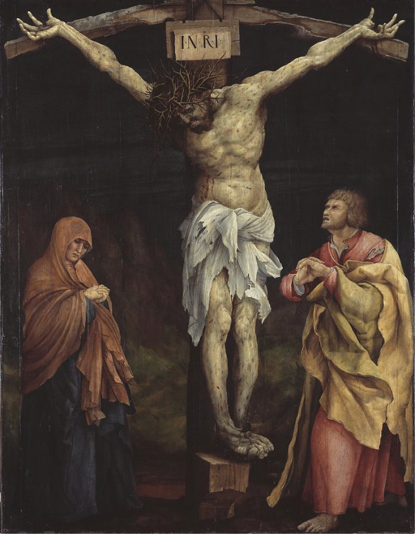 Christ on the Cross Between Mary and John , by Matthias Grunewald