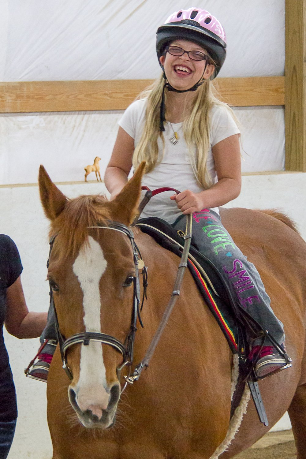 April - I'm a sassy red-headed Quarterhorse mare! Riders love my smooth gaits, and my need for speed. Don't tell anyone, but I'm one of the elder ladies at TRI—at 27 years young!