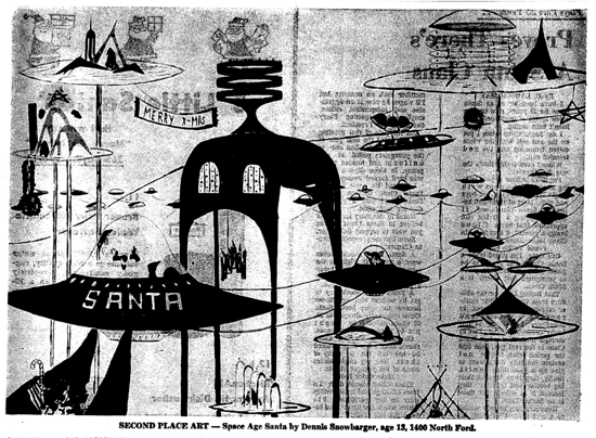 """""""Space Age Santa"""" by 13-year-old Dennis Snowbarger in the November 28, 1963 Hutchinson News"""