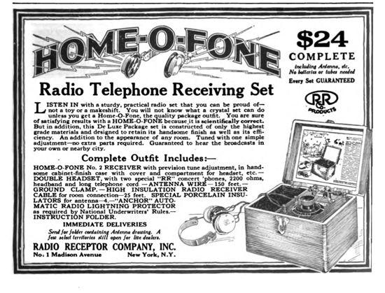 "Advertisement for a ""Home-O-Fone"" crystal radio (June, 1922 Radio Broadcast magazine)"
