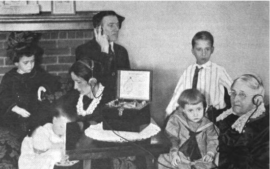 A family listening to radio together (August, 1922 Radio Broadcast magazine)