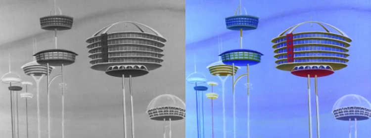 """Establishing shot from the Jetsons (""""Rosey the Robot"""" September 23, 1962)"""