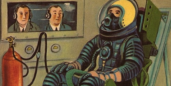 An illustration from the 1958 Little Golden Book, Exploring Space