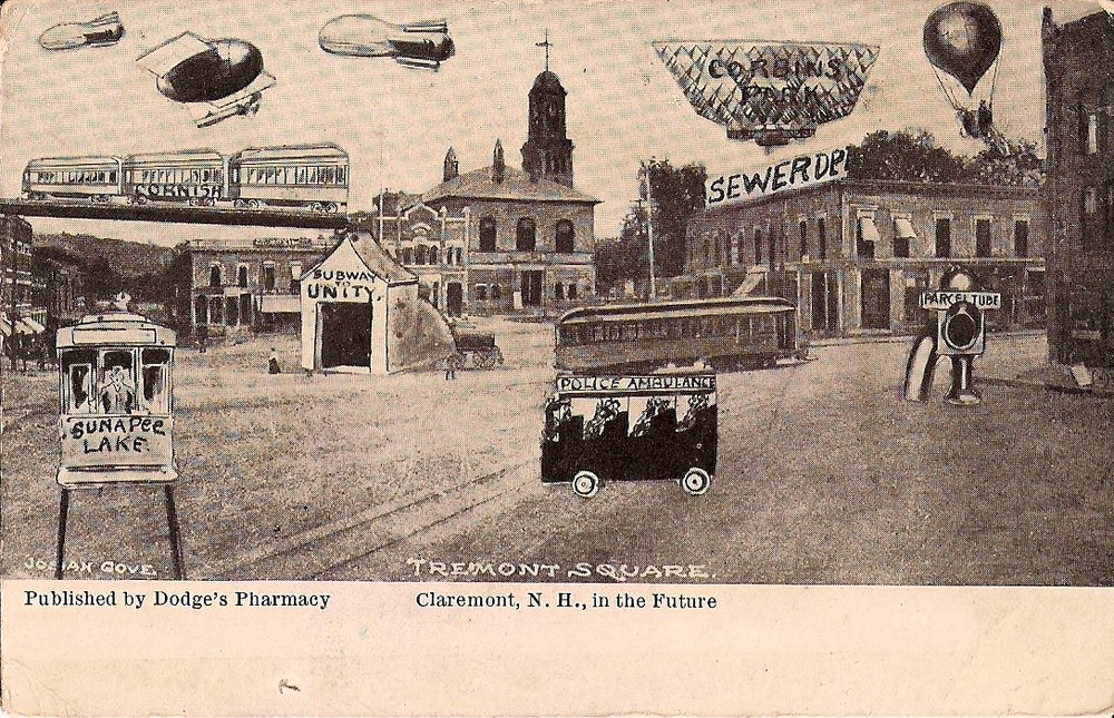 Claremont, N.H. in the Future (postcard circa 1910)