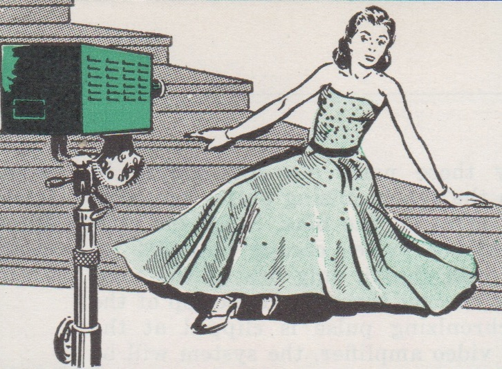 A fashion model showcasing a new dress via closed-circuit television