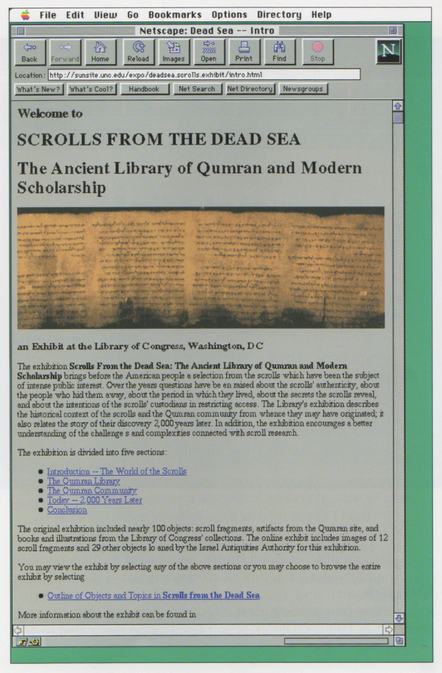 "A ""virtual exhibit"" on the Dead Sea Scrolls from UNC (Netscape for Mac)"