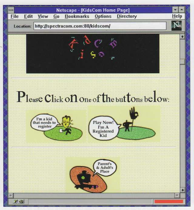 The KidsCom home page displayed in Netscape for Windows (1995)
