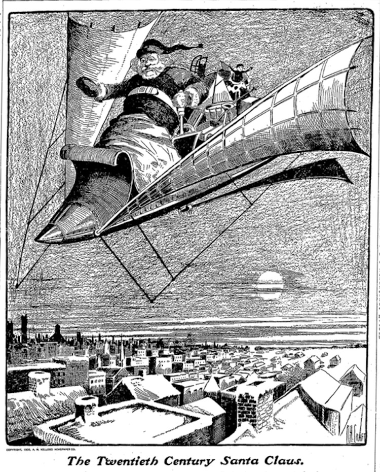 Santa of the future in yet another flying machine (Dec 21, 1900 Carbondale Press)