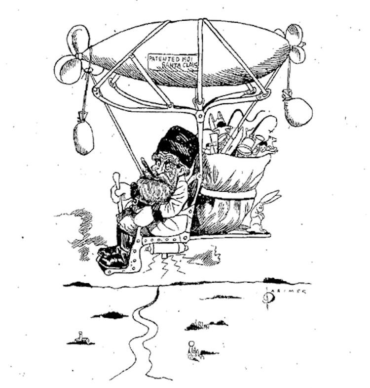 "Santa Claus ""up to date"" in the December 24, 1901 Cedar Rapids Evening Gazette"