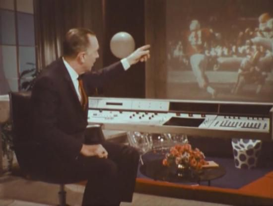 Walter Cronkite showing off the control panel for the 3D-TV of the year 2001 (1967)(CBS)