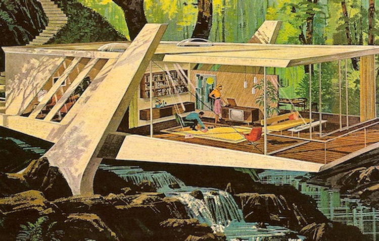Motorola ad illustrated by Charles Schridde in the early 1960s showing midcentury modern design