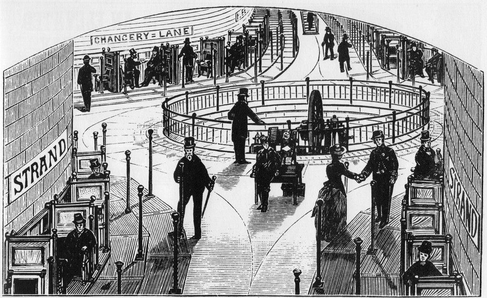 Alfred Speer's moving sidewalk from the 1971 book   Victorian Inventions     by Leonard de Vries