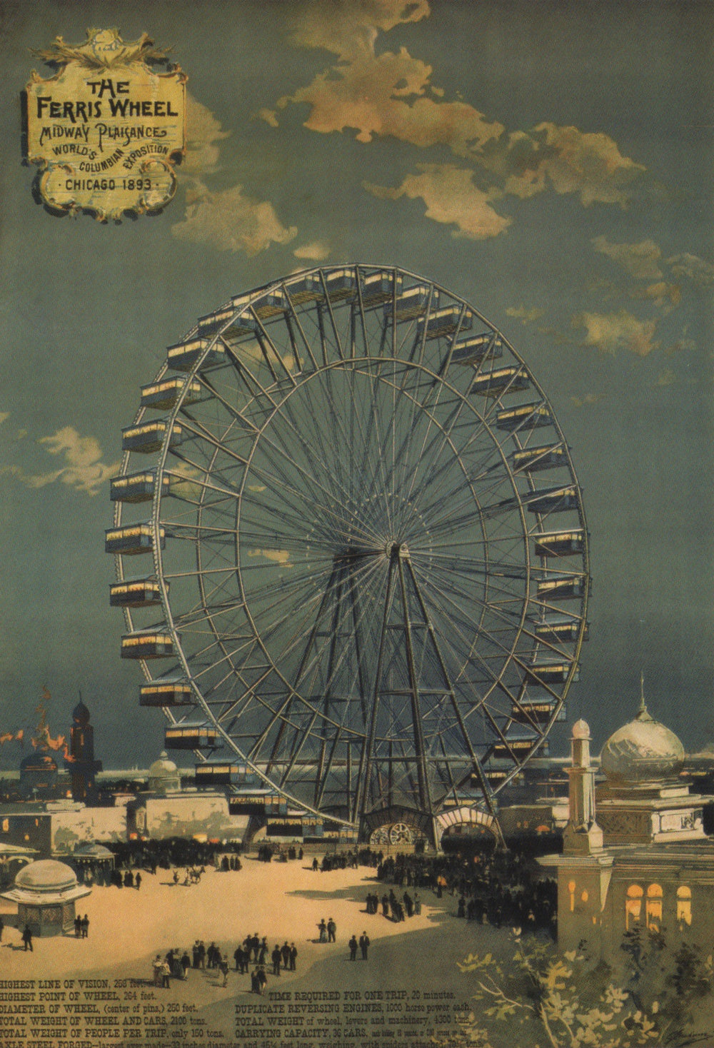 Ferris Wheel poster, scanned from the book   The White City: Chicago's World's Columbian Exposition of 1893   by the Chicago History Museum