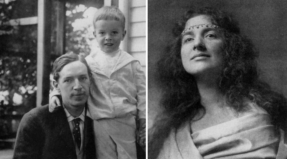 Left: Upton Sinclair with his son David circa 1904, Right: Sinclair's first wife Meta