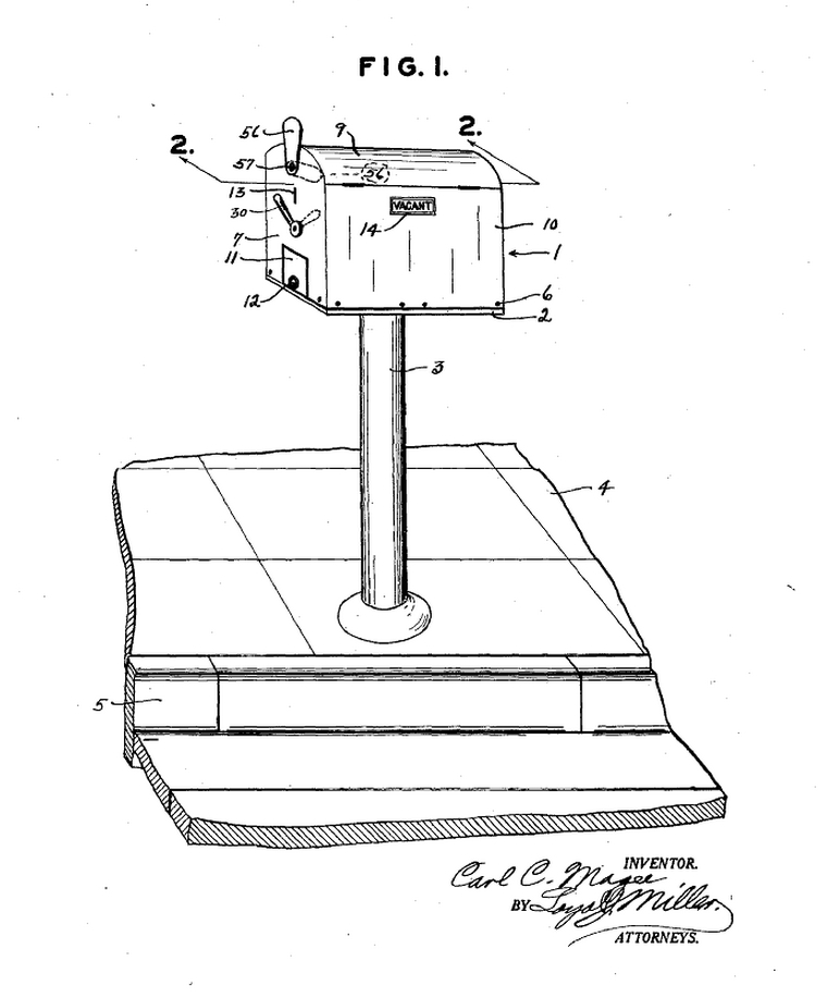 Patent of Magee's 1932 parking meter from    Google Patents