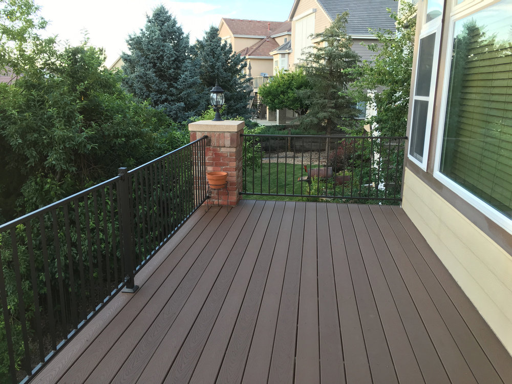 Composite Trex - Denver Deck Builders - Brown with Rod Iron