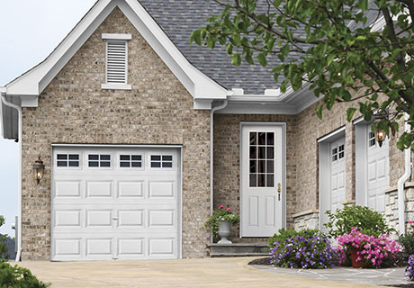 STEEL COLLECTION - High-definition paneling for distinct styles with shadow lines. Make a statement with decorative glass, then match sidelites, transoms and coordinating garage door windows to enhance the total curb appeal of your home. Energy efficient, Clopay steel door systems feature a solid insulating core, 12