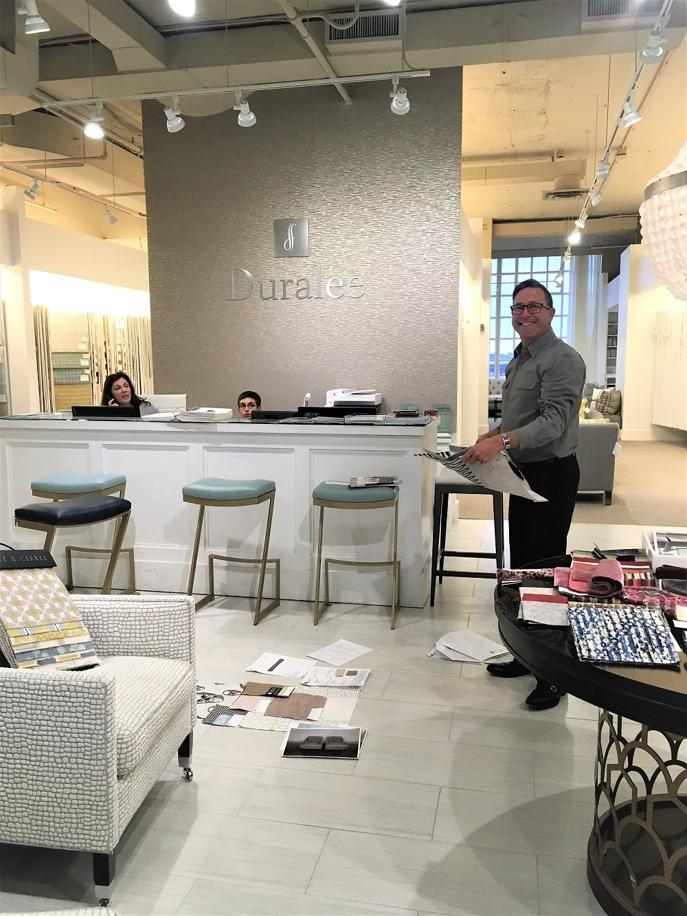 Duralee Showroom Manager, Gary Fisher with Renee Julian, Showroom Fabric Representative