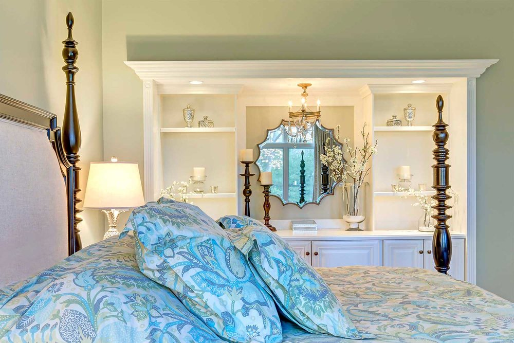Mirrors, lamps and accessories are from the Uttermost Collection.